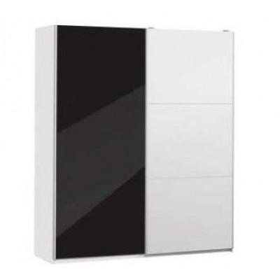 Armoire 2 portes coulissantes CORDOBA 180 laqué noir/miroir