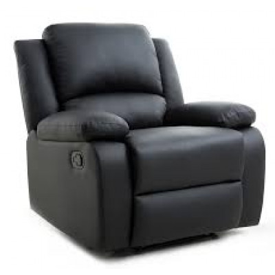 "Fauteuil relax RENO simili cuir Noir ""AIR LEATHER"""