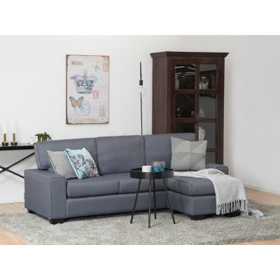 Canapé d'angle réversible RIMINI tissu bleu gris