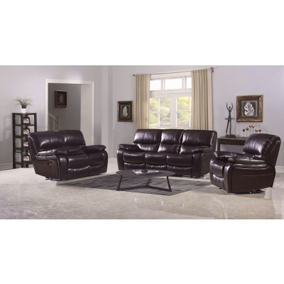 Salon ROLLAND 3+1+1 simili cuir marron AIR LEATHER