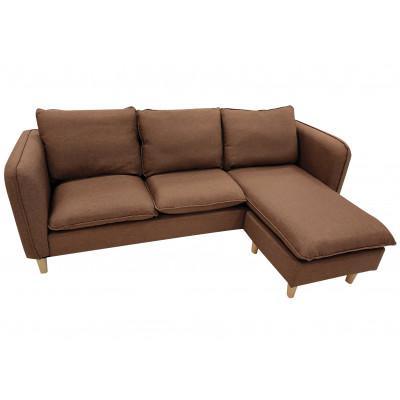 Canapé d'angle réversible JULES tissu marron