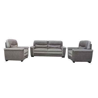 Salon 3 pièces VEGAS tissu gris effet nubuk (1 canapé 3 places + 2 fauteuils 1 place)