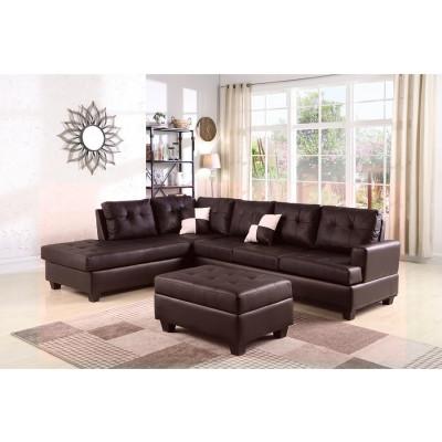Canapé d'angle avec pouf PANAMERA PU marron