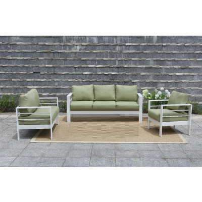 Ensemble de salon de jardin 3 pièces PATIO alu blanc tissu vert
