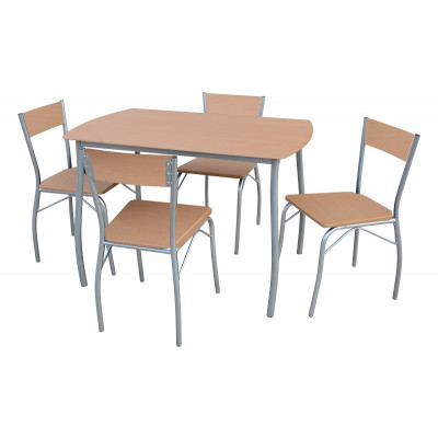 Ensemble 1 table + 4 chaises SOHO plateau hêtre/pieds argentés