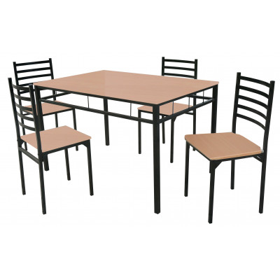 Ensemble 1 table + 4 chaises SQUARE hêtre/noir