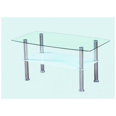 Table de salon ELISA/SUNNY transparent/blanc