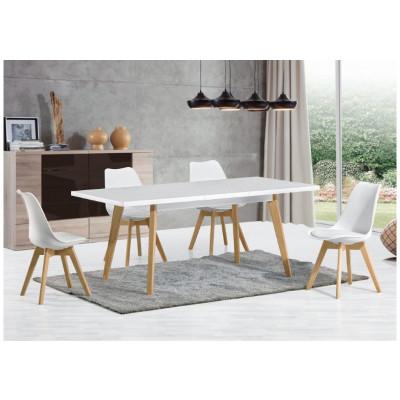 Ensemble table extensible + 4 chaises HELSINKY blanc/pieds bois