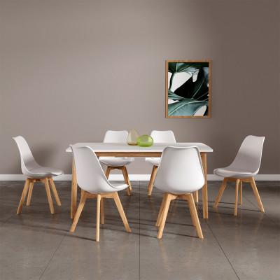 Ensemble table extensible + 6 chaises HELSINKY blanc/pieds bois