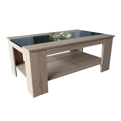 Table de salon ÉMERAUDE chêne/verre noir