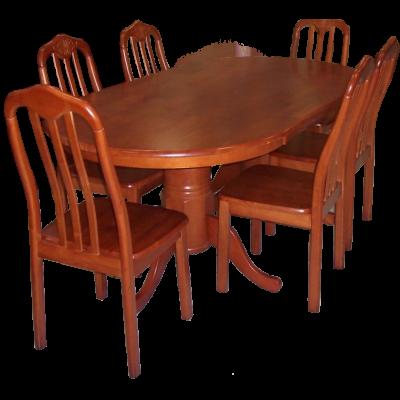 Ensemble Table + 8 chaises FLORA en hévéa massif teinté merisier