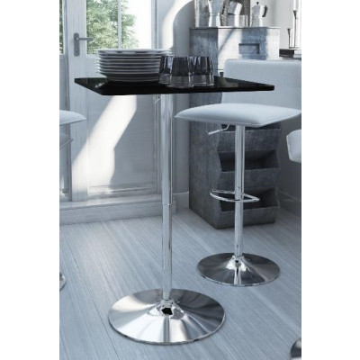 Table bistrot TALL noir/chrome