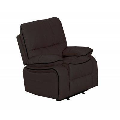 Fauteuil relax VOLUPTO simili cuir marron